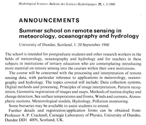 Fig. 1. The announcement of a summer school in Hydrological Sciences Bulletin.