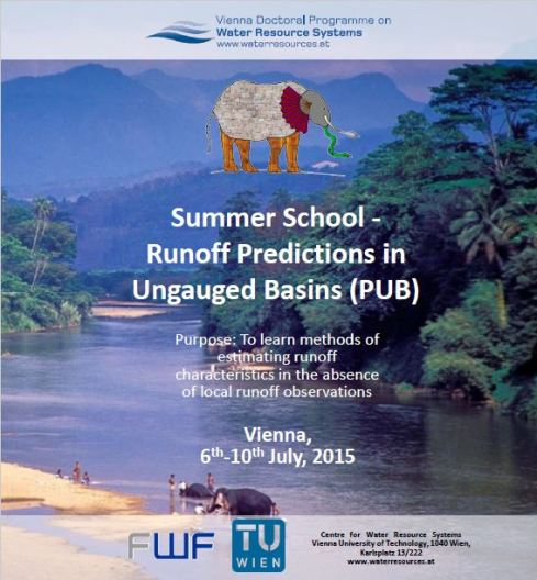 Fig 2. The flyer of the PUB 2015 – Summer School on Runoff Prediction in Ungauged Basins.