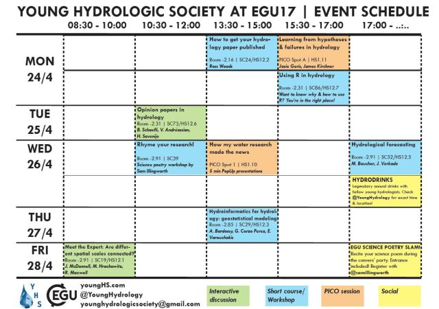 yhs egu17 event schedule young hydrologic society